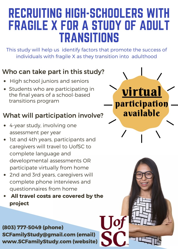 Recruiting High-Schoolers with fragile X for a study of adult transitions.   This study will help us identify factors that promote the success of individuals with fragile X as they transition into adulthood.  Who can take part in this study? High school juniors and seniors and students who are participating in the final years of a school-based transitions program.   What will participation involve? 4 year study, involving 1 assessment per year. 1st and 4th years, participants and caregivers will travel to UofSC to complete language and developmental assessments OR participate virtually from home. 2nd and 3rd years, caregivers will complete phone interviews and questionnaires from home.   All travel costs are covered by the project.